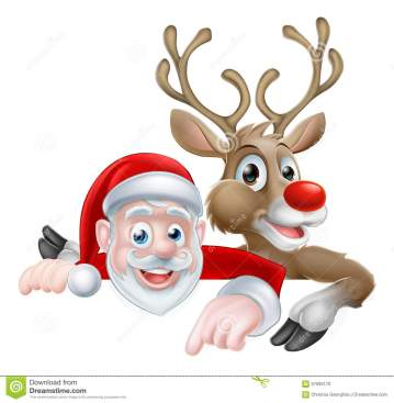 santa-reindeer-christmas-cartoon-peeking-above-sign-pointing-illustration-57095170